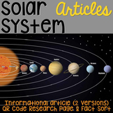 Solar System: Informational Article, QR Code Research Page & Fact Sort