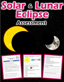 Solar and Lunar Eclipse Quiz (plus review sheet)