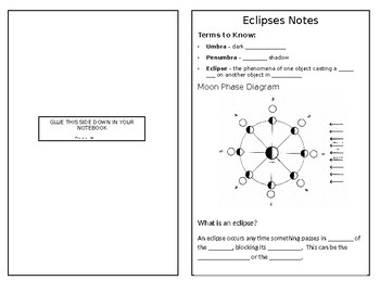 Solar And Lunar Eclipses Notes Interactive Notebook Compatable