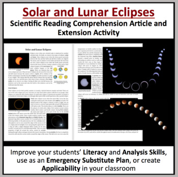 Solar and Lunar Eclipses - Reading Article - Grade 8 and Up