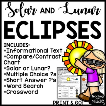 Solar and Lunar Eclipses Reading Comprehension Activity Bundle- Middle School