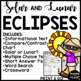 Solar and Lunar Eclipses Reading Comprehension Activity Bu