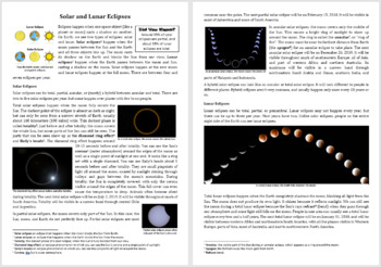 Solar and Lunar Eclipses - Science Reading Article - Grades 5-7
