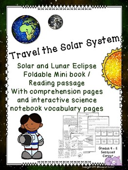 Solar and Lunar Eclipses Foldable Minibook and Comprehension sheets