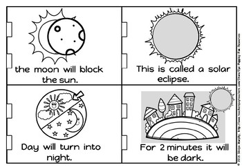 Solar eclipse little book for kindergarten and grade 1 plus sequencing