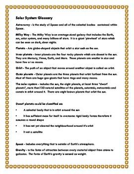 Solar System: Montessori Three Part Cards (Simple Version)