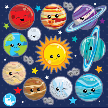 Solar system clipart commercial use, vector graphics, digital  - CL1024