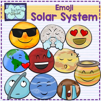 Solar system planets - emoji style - clipart