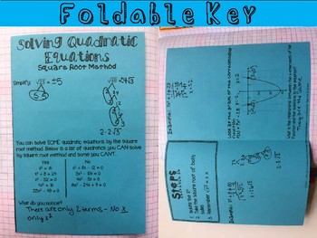 Solving Quadratic Equations by Square Roots: Foldable, INB, Practice, Exit