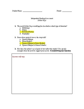 Soldier Boys Independent Novel Test with Answer Key