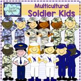 Soldier kids clipart {Multicultural} [Social Studies clip art]