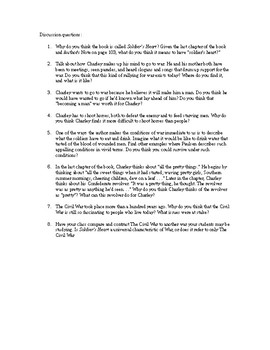 Soldier's Heart by Gary Paulsen Chapter and Discussion Questions