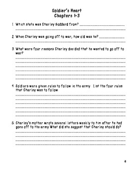 Soldier's Heart Comprehension Packet and Key