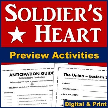 Soldier's Heart Novel Anticipation Guide (Plus Civil War S