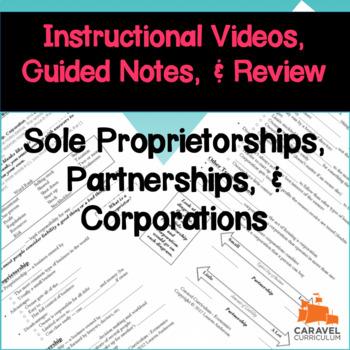 Sole Proprietorships, Partnerships, & Corporations Instructional Videos & Notes