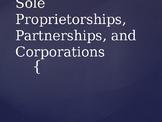 Sole Proprietorships, Partnerships and Corporations