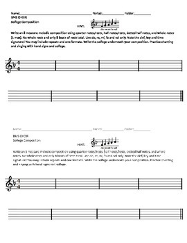 Solfege Composition- Treble Clef, Key of F