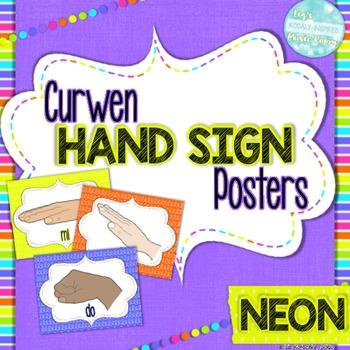 Solfege Curwen Hand Sign Posters: Neon