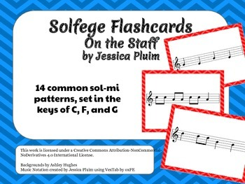 Solfege Flashcards: On the Staff - sol-mi