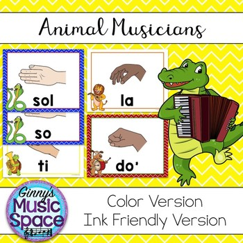 Solfege Hand Sign Posters Animal Musicians Theme