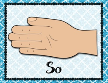 Solfege Hand Signs: Color Coded Glitter Background