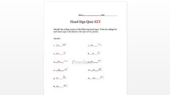 Solfege Handsign Handout and Quiz