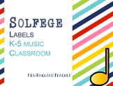 Solfege Labels for Elementary Music Classroom Decor or Bulletin Board Stripes