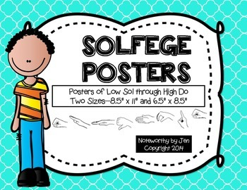 Solfege Posters {Curwen Hand Signs--Seafoam Quatrefoil, TWO sizes}