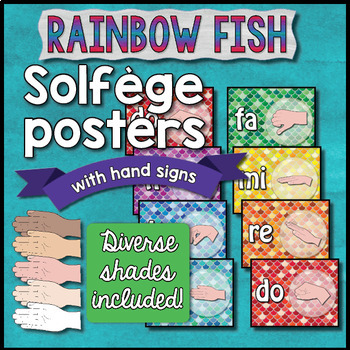 Solfege Posters with Hand Signs - Rainbow Fish Theme