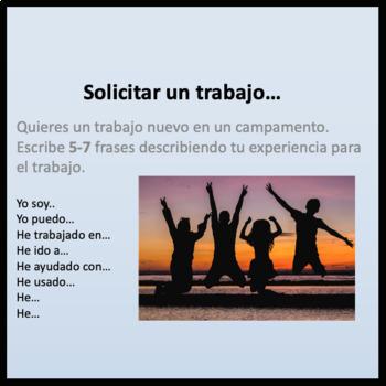 Solicitar un Trabajo: Spanish Present Perfect Communicative Activity