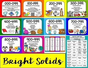 Solid Bright Library Poster Bundle: Dewey Decimal + (EDITABLE) Section Signs