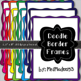 Solid Color Doodle Border Digital Scrapbook Frames {19 count)