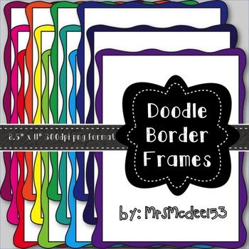 Solid Color Doodle Border Digital Scrapbook Frames {19 count)