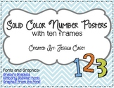 Solid Color Number Posters with Ten Frams