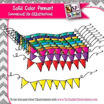 Solid Color Pennant Clip Art