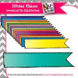 Solid Color Ribbon Accents Clip Art