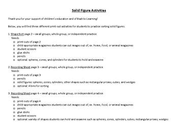 Solid Figure Activities