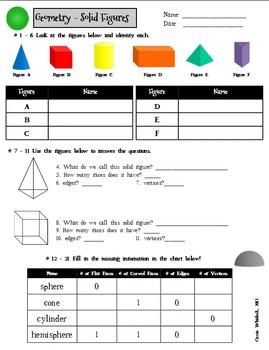 Solid Figures ( 3D Shapes )  Presentation and Assessment Pack