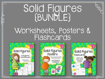 Solid Figures {BUNLDE} Worksheets. Posters. Flashcards