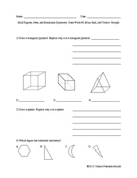 Solid Figures, Nets, and Rotational Symmetry Class Work