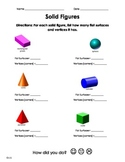 Solid Figures - flat sides, vertices Practice Worksheet