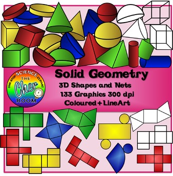 Shapes Clipart (Solid Geometry- Volume and Nets)
