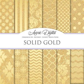 Solid Gold Glitter Digital Paper sparkle pattern scrapbook background