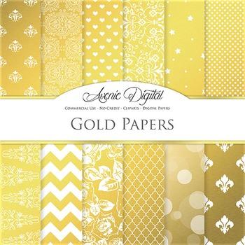 Gold Foil Digital Paper sparkle pattern scrapbook background golden patterns
