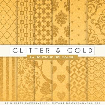 Solid Gold Glitter Patterns Digital Paper, scrapbook backgrounds