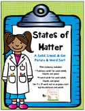 States of Matter -Solid, Liquid, Gas -Picture and Word Sor