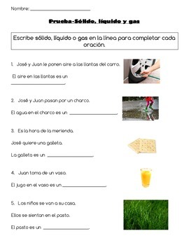 Solid, Liquid, Gas Quiz Spanish AND English