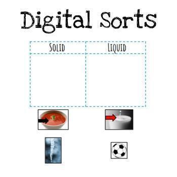 Solid Liquid Gas Sorts | Paper & Digital | NGSS