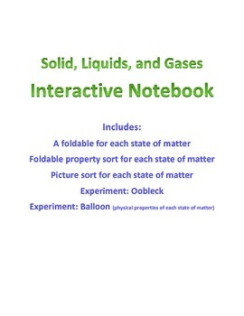 Solid, Liquid, and Gas Interactive Reading Notebook Pages