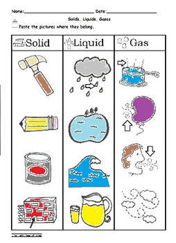 Solid Liquid and Gas Sorting Worksheet Science C-scope Common Core